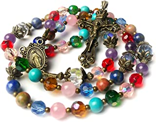 Catholic Heirlooms Basilica Window Crystal and Stone Rosary with Miraculous Medal