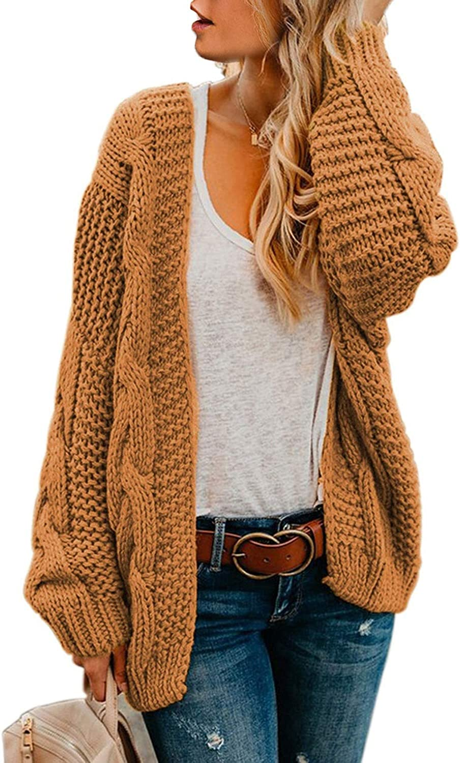 Dokotoo Womens Winter Open Front Long Sleeve Chunky Cable/Chenille Knit Cardigan Sweater Coats S-XXL