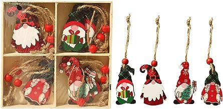 BAODAN Pingentes de Natal, enfeites de madeira para árvore de Natal, conjunto de 12 peças de enfeites de anões para decora...