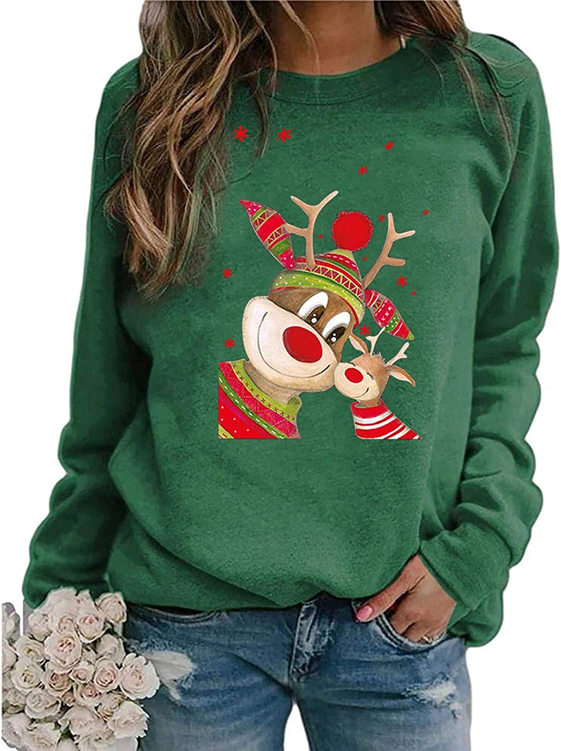 Womens Long Sleeve Tops,Christmas Long Sleeve Tops Santa Printed Pullover Loose Oversized T-Shirt Blouse with Pockets Green