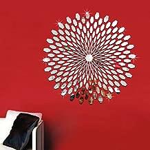 Mirror Wall Sticker,Uotmiki Removable DIY 3D Art Mirror Decal Mural Wall Sticker Home Office Decor (Silver, 56)