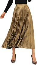 AMORMIO 💕 Women's Glittery Gold/Silver High-Waist Metallic Accordion Pleated Formal Party Maxi Skirt