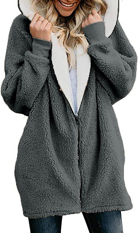 Messigaot Faux Fur Coat Women Winter Warm Oversized Sherpa Fleece Faux Fur Hooded Shaggy Jackets