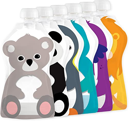 Squooshi Reusable Food Pouches 6-Pack Small 3.4 oz - Baby Food Storage Toddler Kids Squeezable Pouch Washable Freezer...