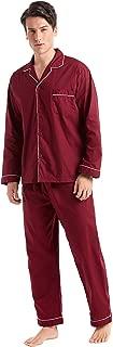 Men's Cotton Pajama Set, Long Sleeve Button-Down Woven Sleepwear