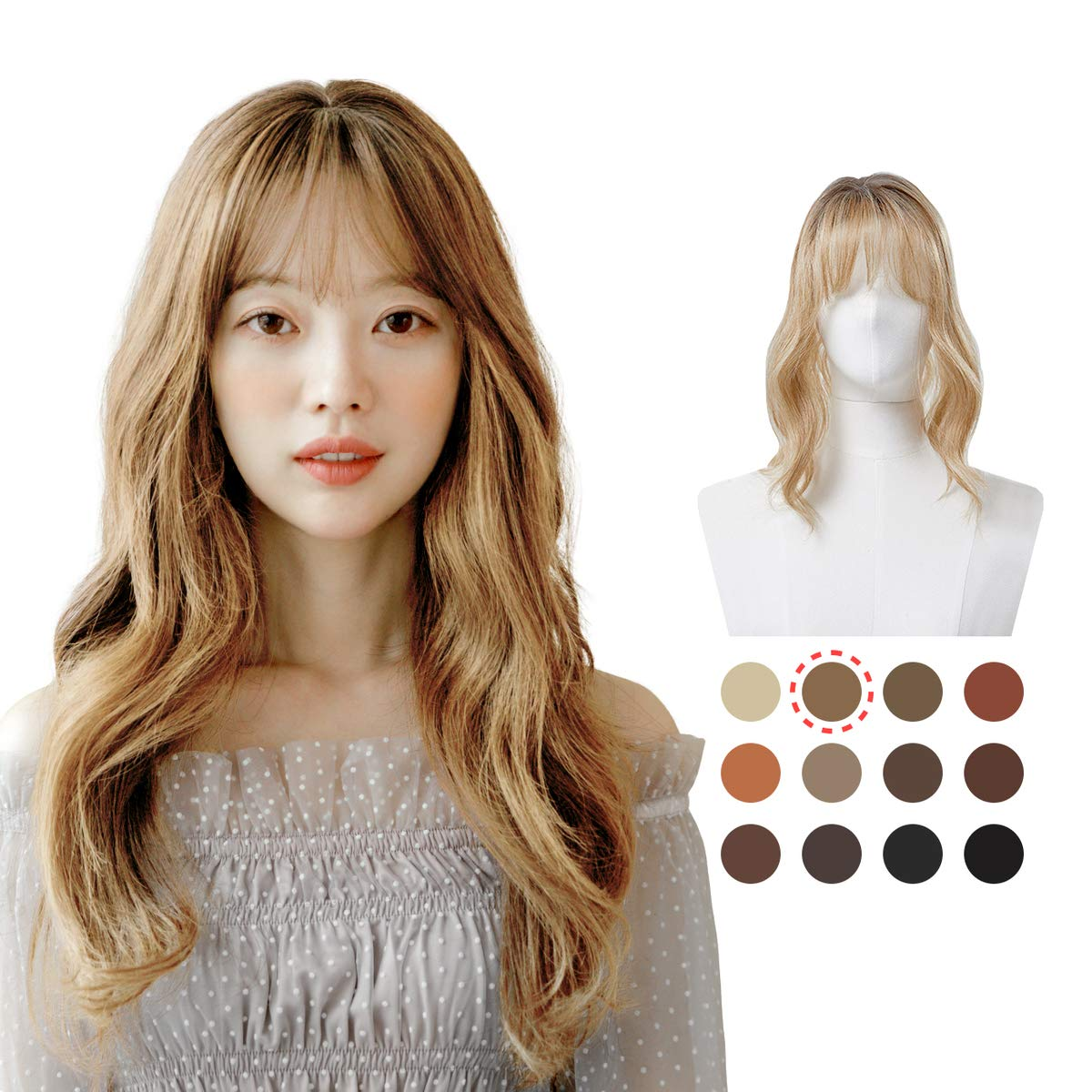 PINKAGE Hair Topper with Air Bangs Long-awaited Sales for sale Natural 12 Crown Colors H in