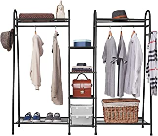 Estoder Bedroom Clothes Rack Metal Clothing Garment Rack Wire Shelving Closet Wardrobe Storage Organizer Double Rod with Shelves and Coat Hanger Hooks, Free Standing & Large Capacity (Black)
