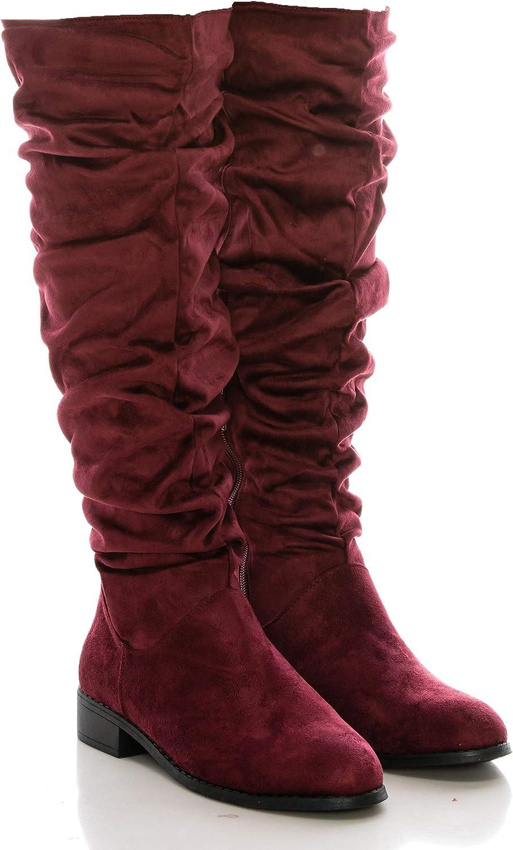 Calico KiKiki höga stövlar (Faux (Faux (Faux mocka Side Zip Low Heel) (8.5 USA Burgundy)  billigt och mode