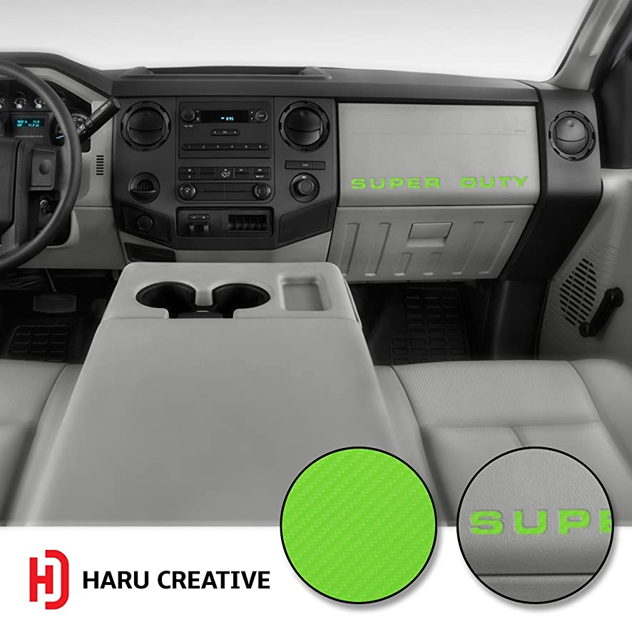 Haru Creative - Dashboard Glove Box Letter Insert Overlay Vinyl Decal Sticker Compatible with and Fits Ford Super Duty F250 F350 F450 (2008-2016) - Carbon Fiber Green