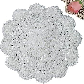 "Creative Linens 6PCS 10"" Round Crochet Lace Doily White 100% Cotton Handmade, Set of 6 Pieces"