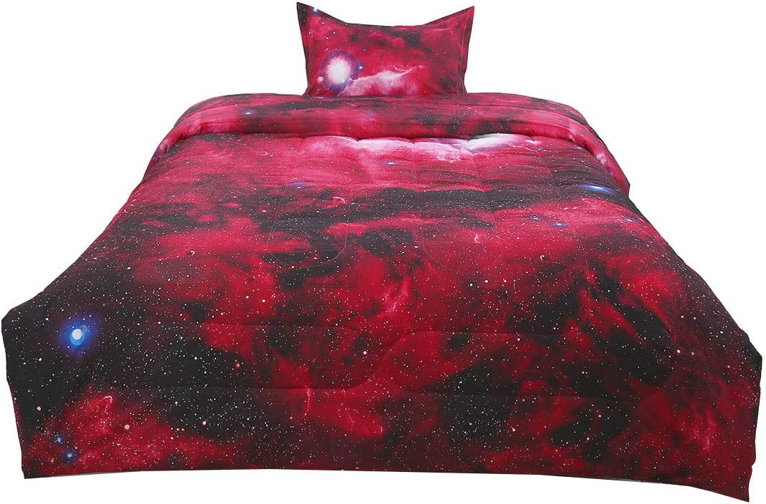 At the specialty shop price uxcell Twin Size Galaxy Red Outer Comforter -3D Set-for Bed