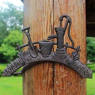 Soporte de manguera montado en la pared Moldeada personalizada Hierro Bucket decorativo del tubo de agua Bastidores antiguo yarda del jardín decorativo de pared de la manguera de riego del jardín Deco: