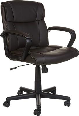 AmazonBasics Drehbarer Bürostuhl, mittelhohe Rückenlehne, mit Armlehnen - Braun