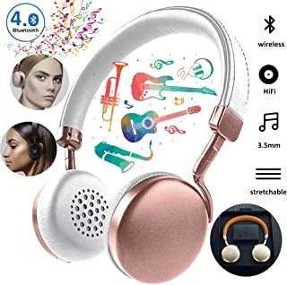Wireless Bluetooth Headset HD Dual Stereo, Wireless Headphones Over Ear Support Dual Mode Playback, HiFi Sound Quality Suitable for Business, Leisure and Entertainment Use,Pink