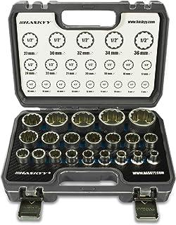 21-częściowy HASKY® wielozębowy klucz nasadowy skrzynka na orzechy I 8-36 mm 12-kątny - 6-kątny I XZN Torx nasadki zestaw ...