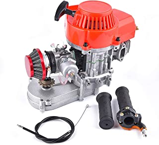 Engine 49CC + Handle Bar + Throttle Cable + Air Filter 2 Stroke Motor with T8F 14t Gear Box Easy to Start Mini Dirt Bike Engine DIY Engine Pocket Bike Gas G-Scooter ATV Quad Bicycle