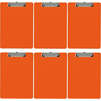 Trade Quest Plastic Clipboard Opaque Color Letter Size Low Profile Clip (Pack of 6) (Orange)