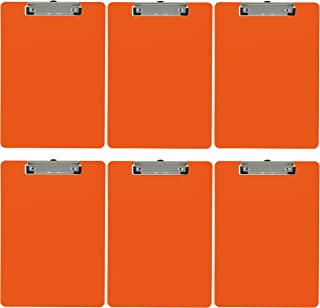 Trade Quest Plastic Clipboard Opaque Color Letter Size Low Profile Clip (Pack of 6) (Orange)