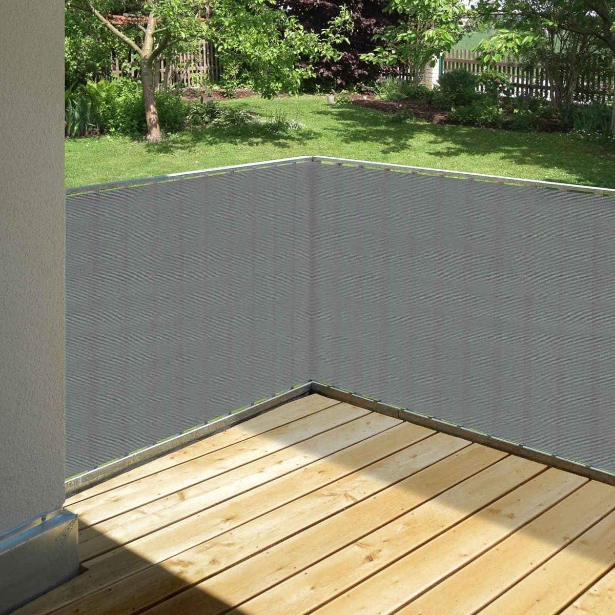 Balkonsichtschutz grau 20 x 20 cm aus HDPE wetterfest & langlebig   Wind  und Sichtschutz für Balkon, Terrasse, Garten ohne bohren