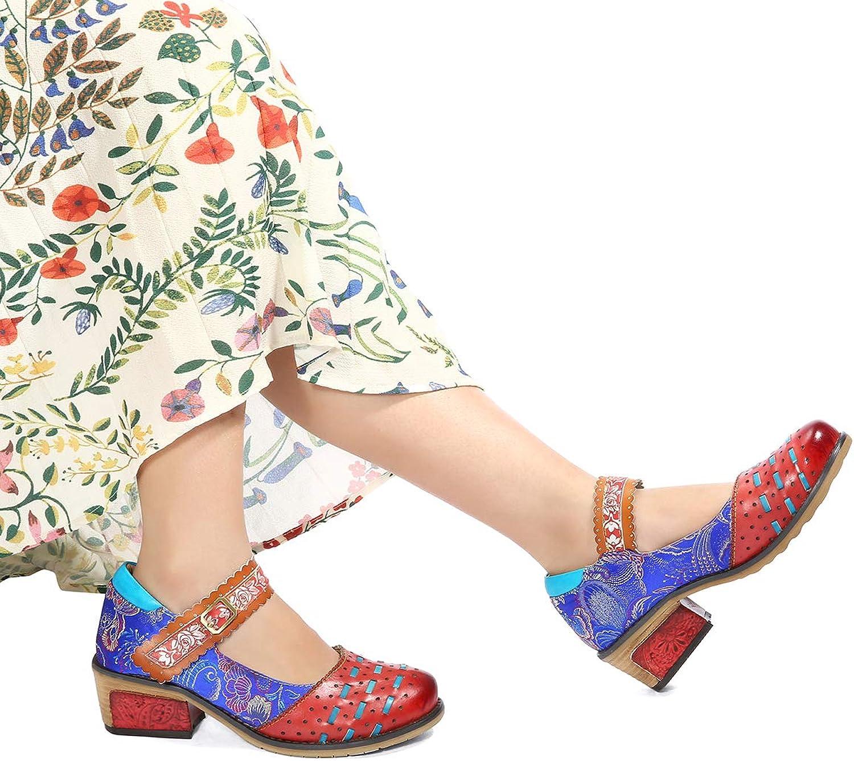 Gracosy Women Leather Pumps, Low Block Heel Hook Loop Mary Jane shoes Vintage Handmade Coloful Buckle shoes