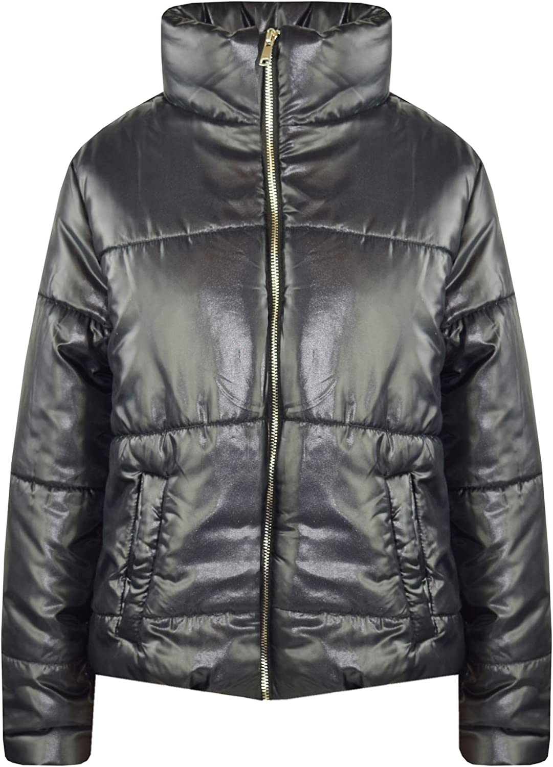 Girls Jacket Kids Black Wetlook Cropped Padded Quilted Puffer Jackets Coat 5-13Y