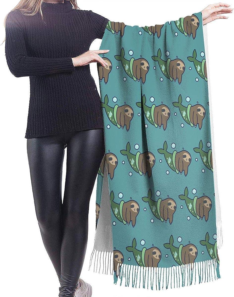Funny Mermaid Sloth Cashmere Shawl Wrap Scarf Large Warm Scarf For Women