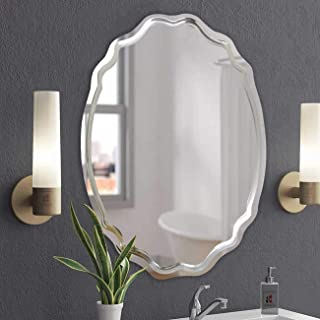 Art Street Wall Mirror for Bathroom, Wall Mirror for Living Room (Silver-Oval)