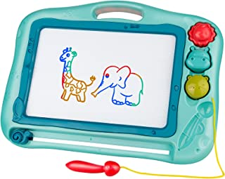 Gamenote Magnetic Drawing Board for Kids 16×12 inch - Doodle Board for Toddlers Comes with Adorable 3 Stamps, Magnet Pen, ...