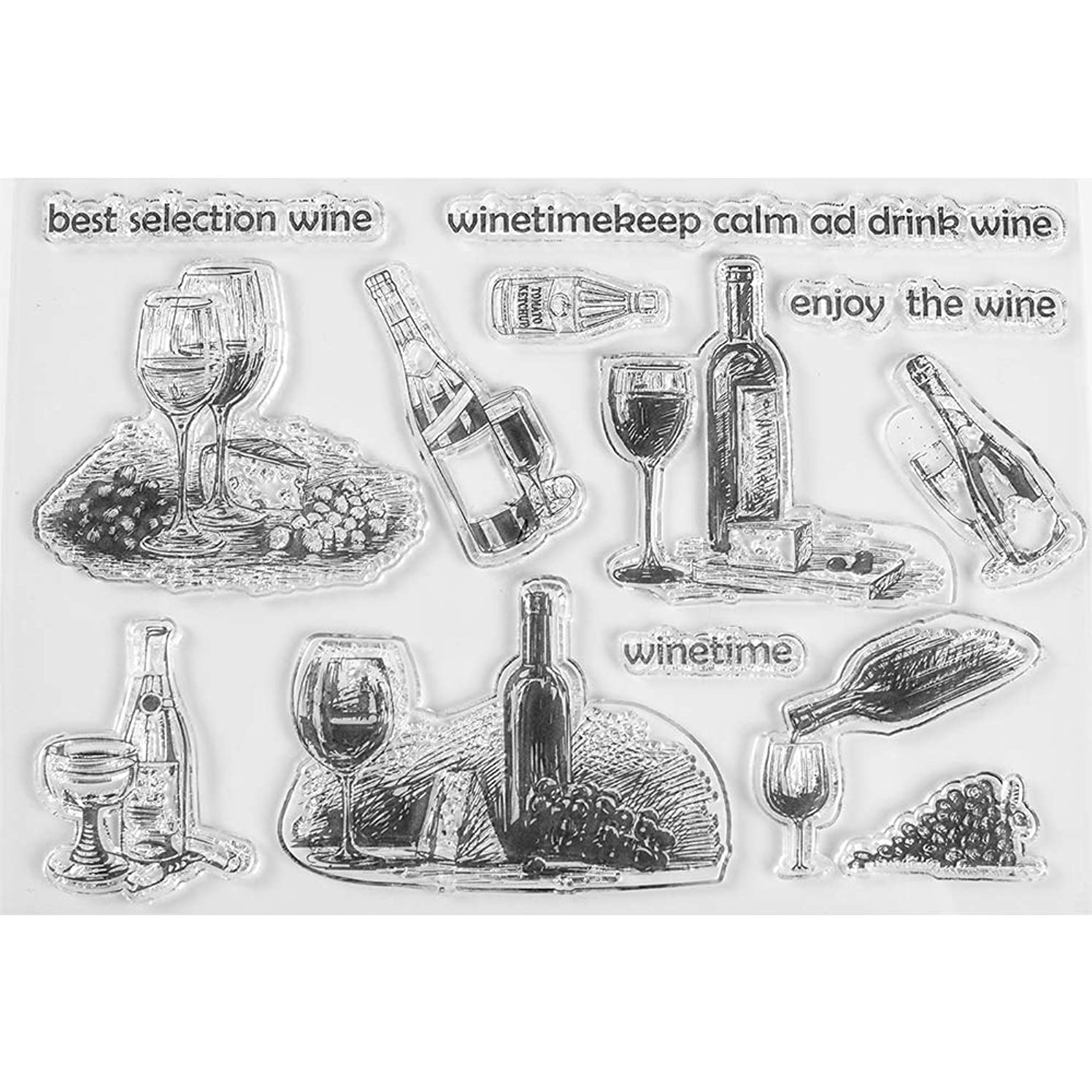 MaGuo Drink Clear Stamps Wine Time for Paper Craft and DIY Scrapbooking