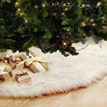 80 cm Tatuo White Faux Fur Christmas Tree Skirt Snow Tree Skirts for Christmas Holiday Decorations