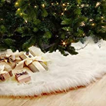 Jogotoll Christmas Tree Skirt Mat Decoration Plush Luxury Faux Fur Soft Snow White Holiday Year Party Pet Santa Snowman Reindeer Ornaments (48 Inch Dia.)