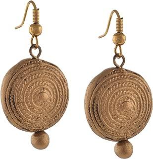 Fashion Handmade Painted Terracotta Round Hook Earrings Golden