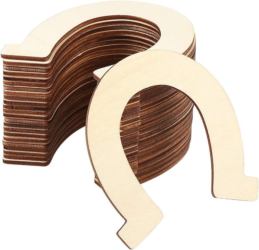 Healifty Outlet ☆ Free Shipping 24pcs Wood Discs Slices Unfinished Shape Horseshoe Purchase