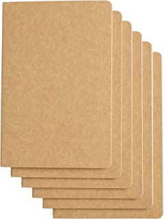 Travel Journal Set With 6 Notebook Journals for Travelers - Kraft Brown Soft Cover - A5 Size - 210 mm x 140 mm - 60 Square Grid Pages/30 Sheets