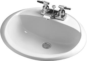 Crane Plumbing Sonnet Vitreous China Centerset Drop In Lavatory Sink 1287v Bathroom Sinks Amazon Com