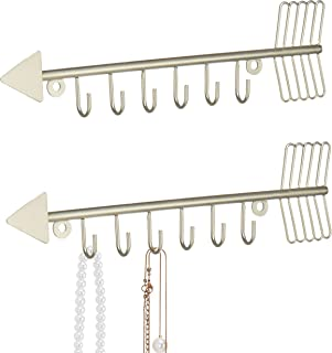 MyGift Brass-Tone Metal Wall Mounted Arrow Design Necklace Organizer Rack with 6 Hooks, Set of 2