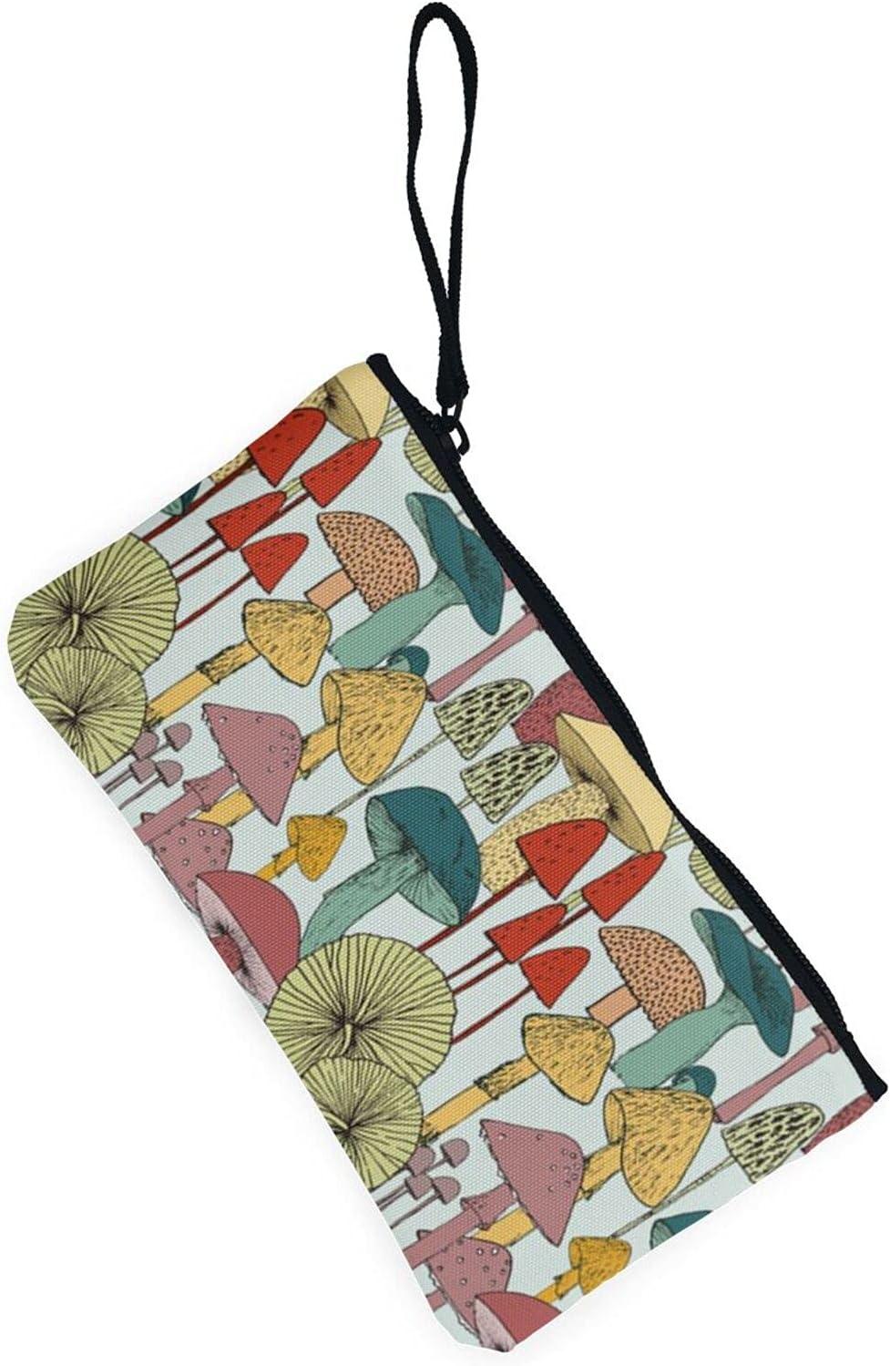AORRUAM Mushrooms Canvas Coin Purse,Canvas Zipper Pencil Cases,Canvas Change Purse Pouch Mini Wallet Coin Bag