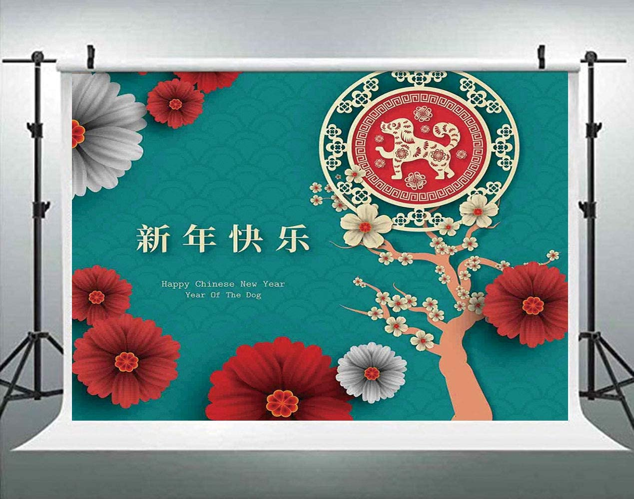 Japanese Flourishing Petals with Canine Silhouette Backdrop for Photography Photo Background Props Photography AM034545 ALUONI 5x3ft Year of The Dog