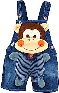 Kidscool Baby Summer Cotton Denim 3D Cartoon Monkey Soft Shorts Overalls, Blue, 18-24 Months