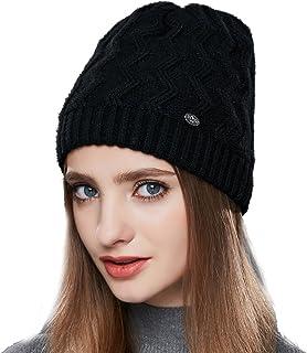 d84404ffbf540 URSFUR Femme Fille Chapeau/Bonnet Jersey Tricot Torsade Bonnet Laine  Automne Hiver