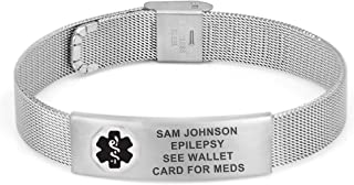 Divoti Custom Engraved Mesh Medical Alert Bracelets for Women/Men, Stainless Steel/Titanium Medical Bracelet, Medical ID Bracelet Adjustable w/Free Engraving & Color Options