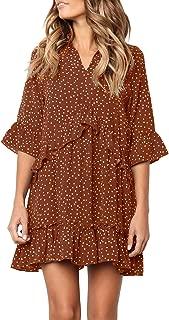 Women's V Neck Ruffle Polka Dot Pocket Loose Swing Casual Short T-Shirt Dress