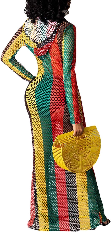 Kafiloe Women Swimsuit Maxi Dress Cover Ups - Sexy Long Sleeve Hollow Out Fishnet See Through Summer Beach Swimwear