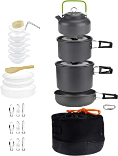 DZRZVD Camping Cookware Mess Kit Gear,Backpacking Accessories Equipment Pots and Pan Set with Mesh Carrying Bag for Hiking...