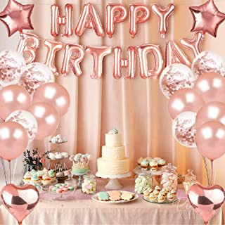 Rose Gold 16 Inch Mylar Foil Letters Happy Birthday Balloon Banner for All Ages Reusable Ecofriendly Material for Birthday...