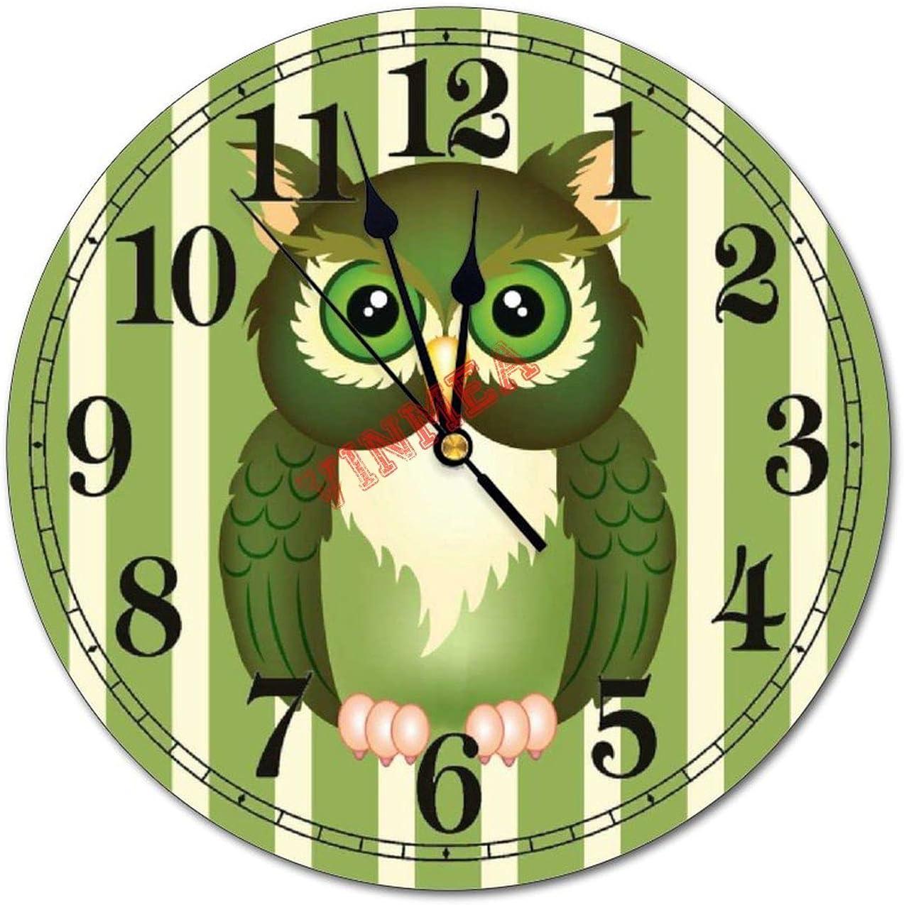 VinMea Decorative Wall Clock Green Non Regular store Owl Ti Silent Round Easy-to-use