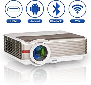 WXGA HD Smart WiFi Bluetooth Projector Wireless LED Android Home Cinema 5000 Lumen Support Airplay HDMI 1080P LCD Outdoor ...