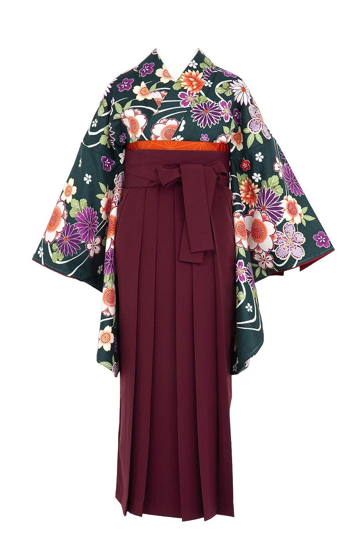 卒業式 袴セット bonheur saisons 深緑 グリーン 濃い赤 レッド 臙脂 桜 菊 流水 鹿の子