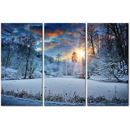 Amazon Com Modern Canvas Painting Wall Art Snowfield Winter Snow Forest Tree Sunrise Sunset Landscape Mountain Tree Print On Canvas Artwork Wall Decor 5 Pieces Posters Prints