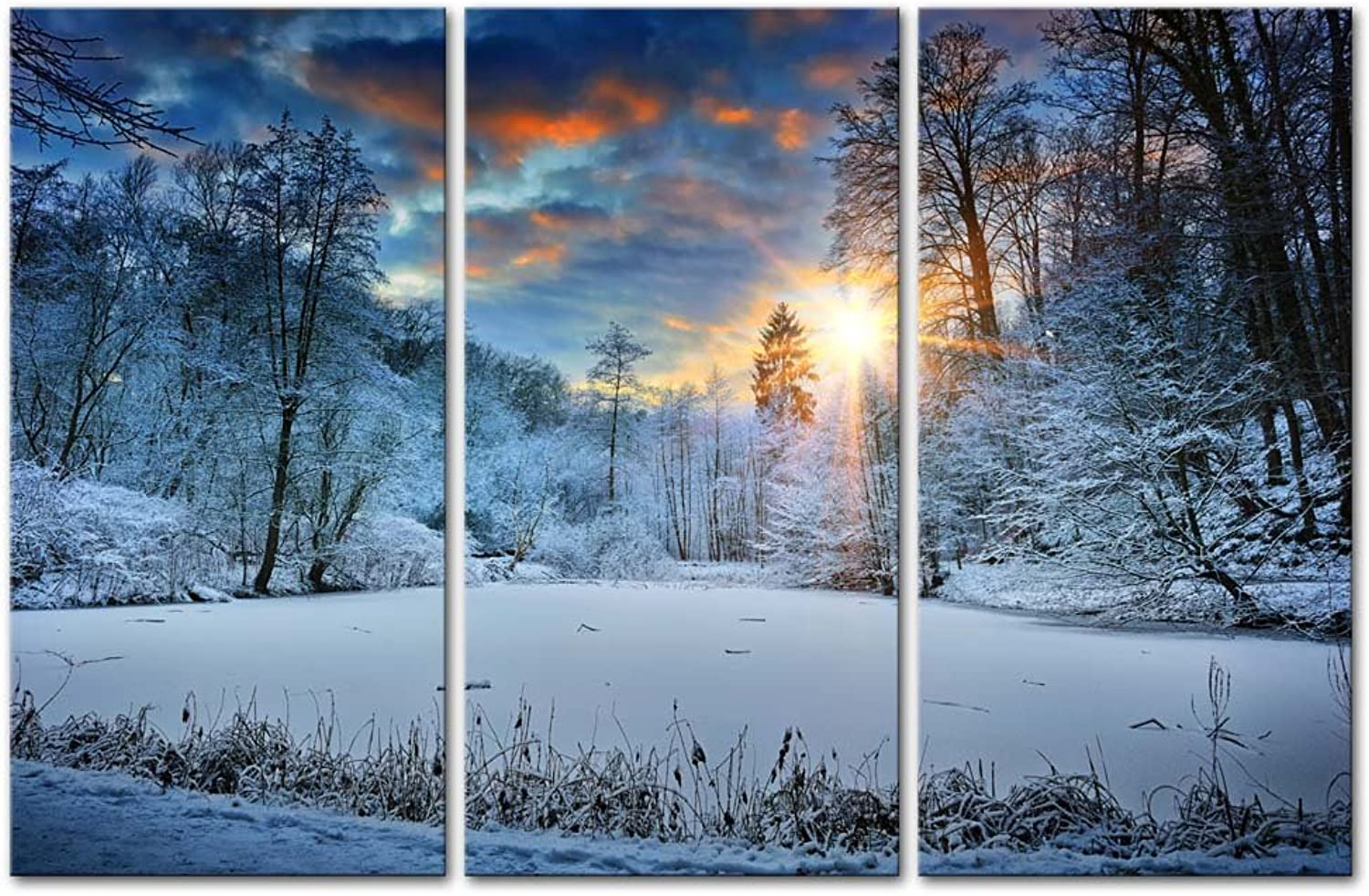 Modern Canvas Painting Wall Art Snowfield Winter Snow Forest Tree Sunrise Sunset Landscape Mountain & Tree Print on Canvas Artwork Wall Decor 3 Pieces